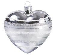 Hand-made glass silver heart with white glitter bands by GLASSOR