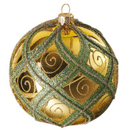 Hand crafted Christmas ornament Gold ball with green diamond pattern - large