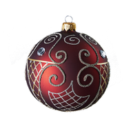 Hand crafted Christmas ornament Ruby ball with gold spirals by  GLASSOR.