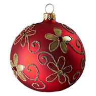 Hand crafted Christmas ornament Red ball with gold daisies