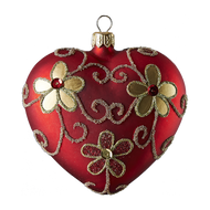 Hand crafted Christmas ornament Red heart with gold daisies