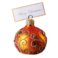 Hand crafted Christmas ornament Jeweled orange cardholder - large