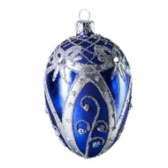Hand crafted Christmas ornament Blue oval with silver ribbons
