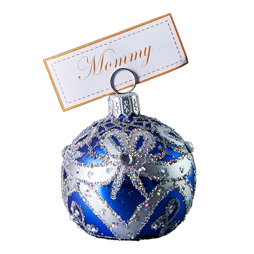 Hand crafted Christmas ornament Blue cardholder with silver ribbons