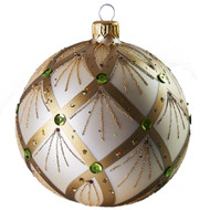 Hand crafted Christmas ornament Jeweled pearl ball - large