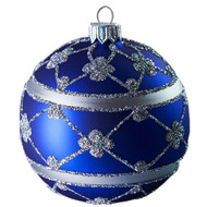 Handcrafted Christmas ornament Blue Adorned Ball by GLASSOR.