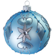 Hand crafted Christmas ornament Ornate powder blue ball - large