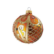 Hand crafted Christmas ornament Ornate peach ball