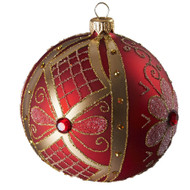 Hand crafted Christmas ornament Red flowered ball - large