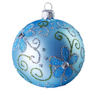 Hand crafted Christmas ornament Powder blue ball with blue daisies