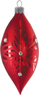 Hand crafted Christmas ornament Red snowflake teardrop