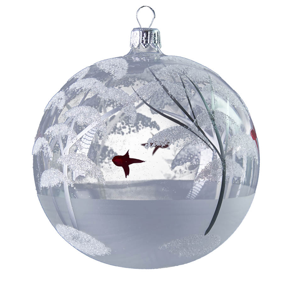 Glass ball with winter scene - large handmade glass ...