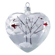 Hand crafted Christmas ornament Glass heart with winter scene