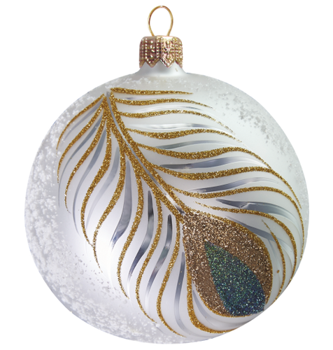 Magnificent Peacock Feather Glitter Ball mouth-blown and hand-painted Glass Christmas Ornament.