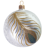 Hand crafted Christmas ornament Peacock feather ball - large