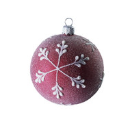 Hand crafted Christmas ornament Frosted purple ball with snowflakes