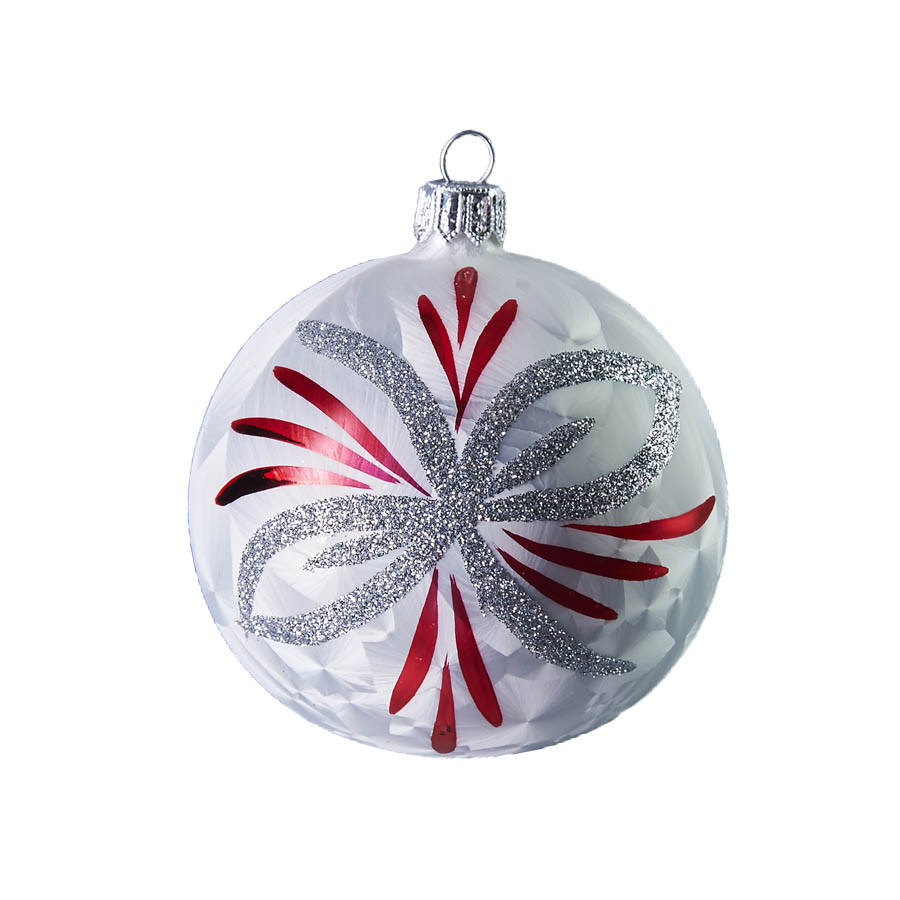 handcrafted christmas ornament white ball with silver and red poinsettia by glassor - Red And Silver Christmas Ornaments