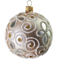 Hand crafted Christmas ornament Pearl ball with glitter vinesl - large