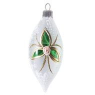 White teardrop with modern flowers Christmas ornament