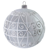 Handcrafted Christmas ornament Glass ball with white lattice - large