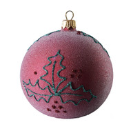 Hand crafted Christmas ornament Frosted purple ball with glitter holly