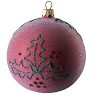 Hand crafted Christmas ornament Frosted purple ball with glitter holly - large