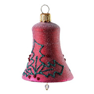 Hand crafted Christmas ornament Frosted purple bell with glitter holly