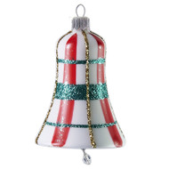 White bell with red and green plaid