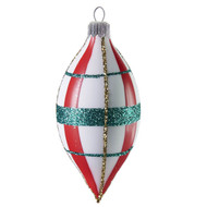 White teardrop with red and green plaid