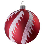 Red ball with snowy swirls handcrafted glass Christmas ornament