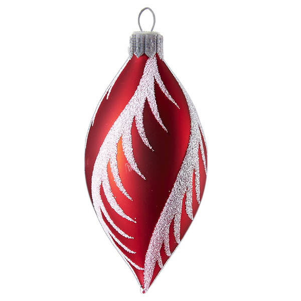 Red Christmas Ornaments.Red Teardrop With Snowy Swirls