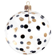 Glass Christmas ball with black-gold dots
