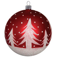 Red Christmas Ornament with Trees Décor, mouth-blown and hand-painted glass Christmas decoration made by GLASSOR.