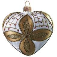 Glass Blown Heart in White Ice Lack with Gold Décor, mouth-blown and hand-painted glass ornament by GLASSOR.