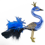 Crowned Peacock with Blue and Black Feathers, mouth-blown and hand-painted glass ornament by GLASSOR.