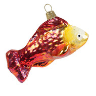 Glossy Red Fish Christmas Blown Ornament, mouth-blown and hand-painted glass ornament by GLASSOR.