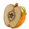 Yellow and Red Halved Apple with the Star, mouth-blown and hand-painted glass ornament by GLASSOR.