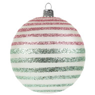 Modern Christmas Bauble with Green and Pink Lines