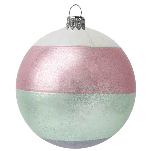 Glass Bauble with Rose-Green Stripes handcrafted by GLASSOR artisans.