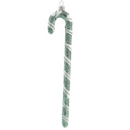 Christmas Ornament White-Green Candy Cane handcrafted by GLASSOR artisans!