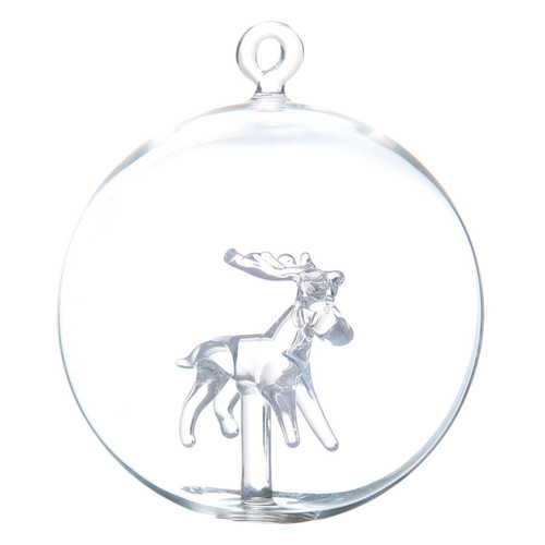 Mouth-blown Christmas Ball with Glass Reindeer Inside made by GLASSOR.