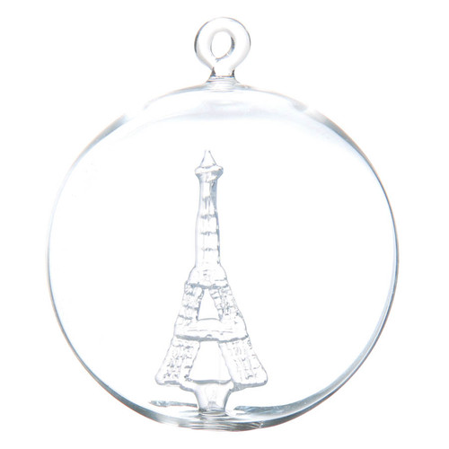 Eiffel Tower Handcrafted Glass Christmas Ornament by GLASSOR!