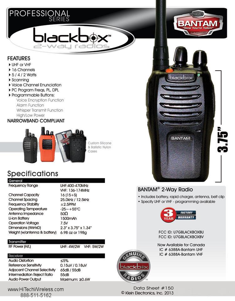 Blackbox Bantam UHF Two Way Radio from HiTech Wireless com