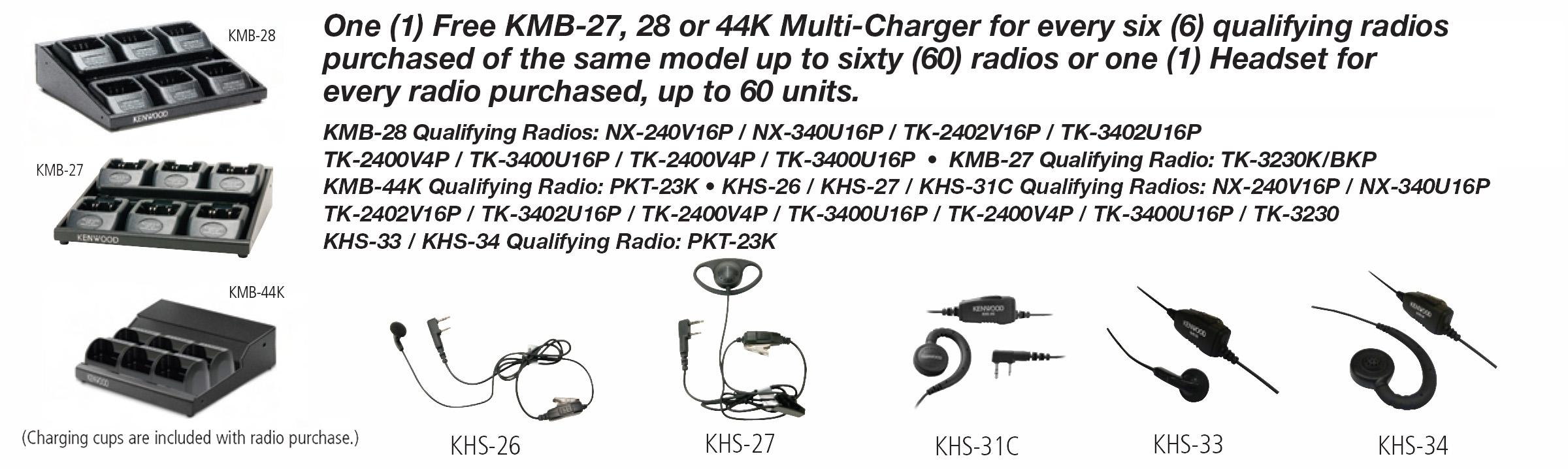 Kenwood Rebate Charger Earpiece Options