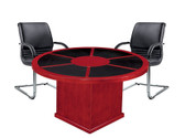 Executive Round Meeting TAble with Leather Inlay