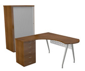 Luna Main Desk Unit With System Roller Cabinet