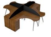 Luna Main Desk Unit With Curved Desk Screen