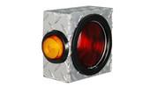 """UTA Brute Single Round Light Box W/ Side Light Diamond Tread  6""""L x 6""""H x 3""""D #LB012"""