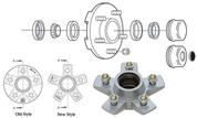 "AxleTech 5 on 4-1/2"" Galvanized Hub Kit with Bearings, Seal, Cap and Nuts #GVH84545UC1"