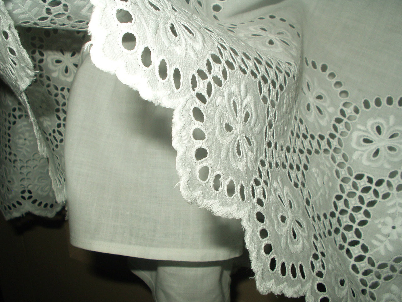 Antique Victorian Edwardian White Petticoat  Slip Broderie Anglaise Ruffle Trim